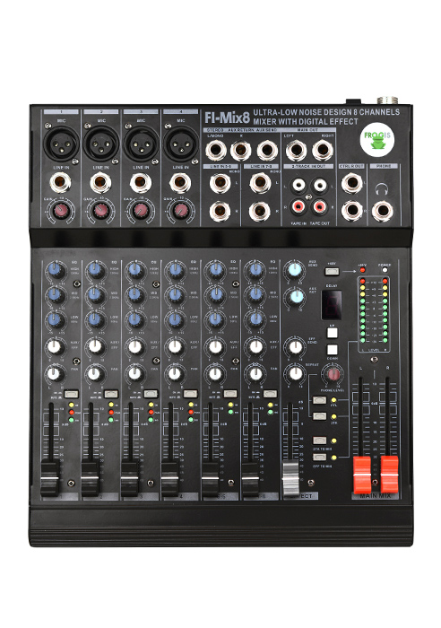 Ultra-low noise design 8 channels mixer with digital effects